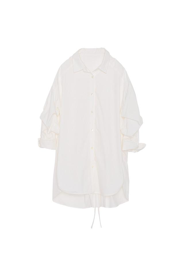 バックスリットプリーツシャツ< off >