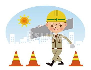 イラスト素材:建材を運ぶ土木作業員/昼間背景(ベクター・JPG)