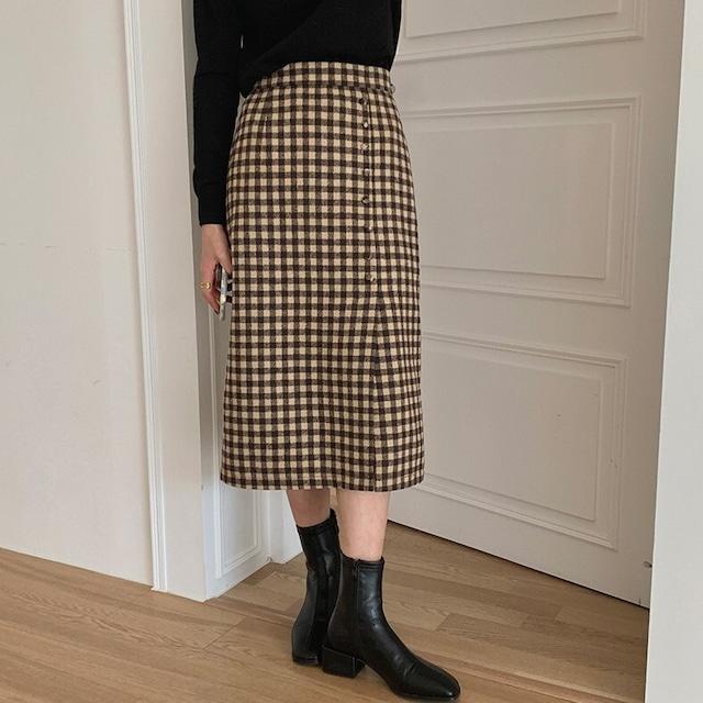 チェック柄サイドスリットタイトスカート