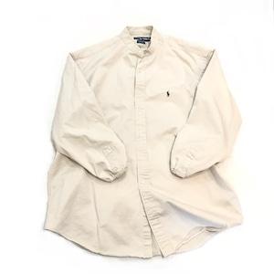 【USED】リメイク ラルフローレン ビッグサイズ バンドカラーシャツ 人気色 ベージュ Lサイズ