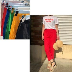 【GREEN,RED:即納】カラーリネンパンツ -6color-