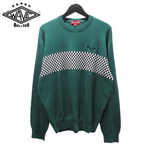 SUPREME 18SS Checkered Panel Crewneck Sweater