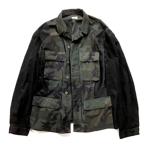 【Lsize】 REMAKE BLACK  MILITARY SHIRTS ブラックミリタリーシャツ【Shirts55】
