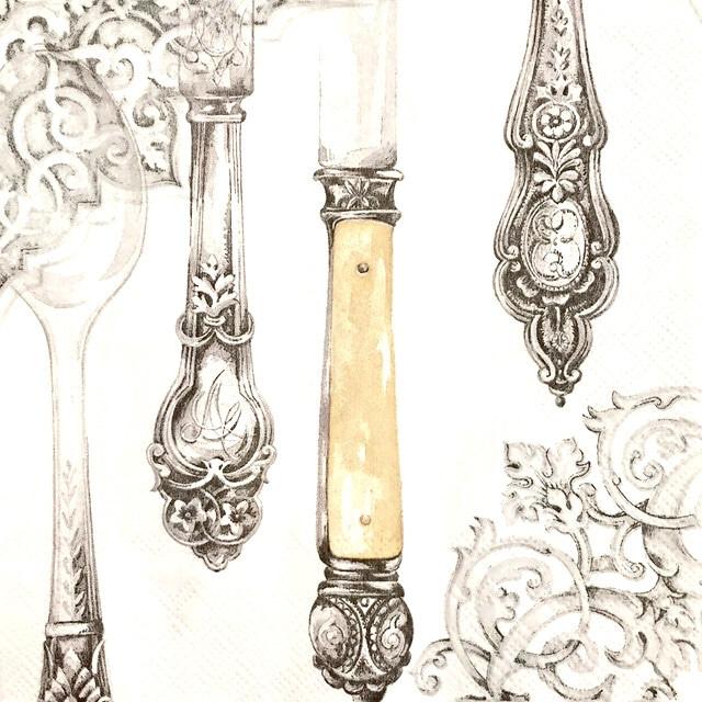 【IHR】バラ売り2枚 ランチサイズ ペーパーナプキン CUTLERY パールホワイト×シルバー