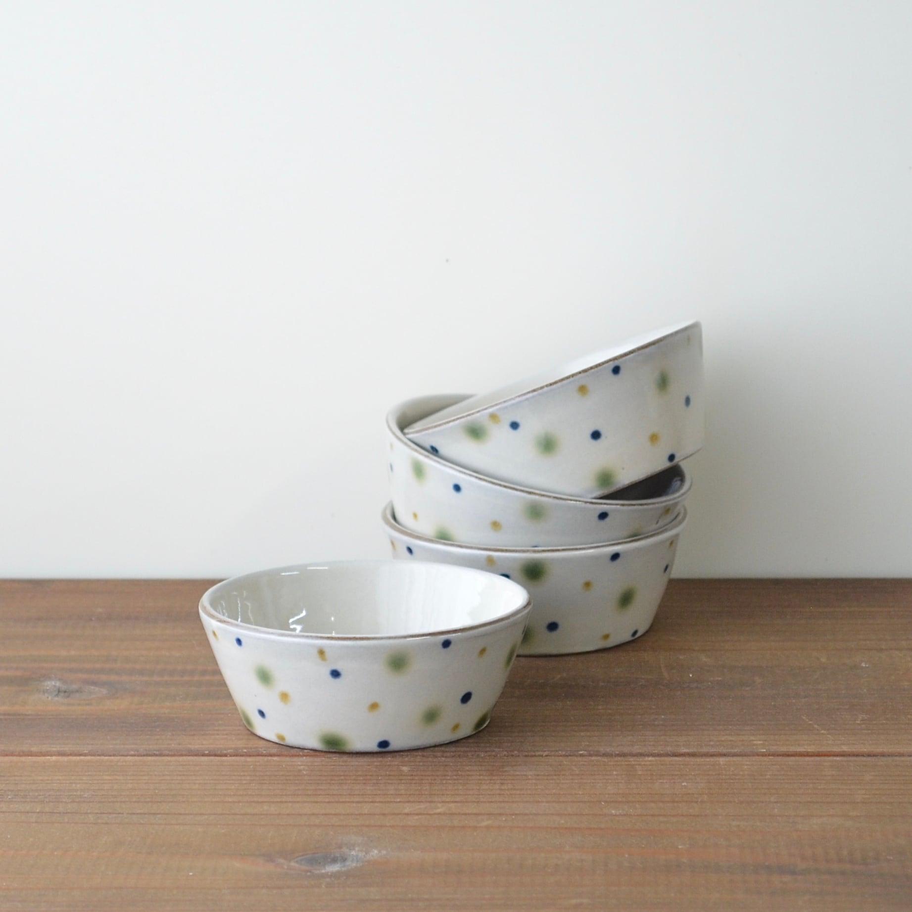 三色水玉の小鉢 小
