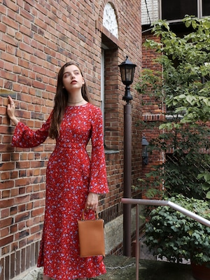 bell-sleeve maxi one-piece(flower-red)