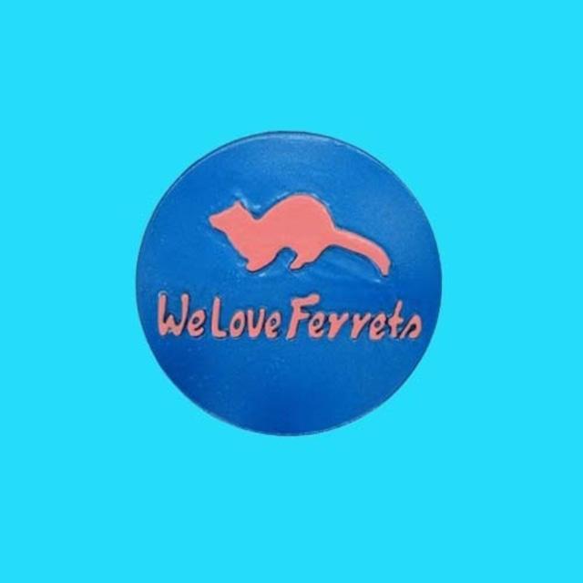 We Love Ferrets マグネットステッカー ⑥ キャスト製(直径80mm)(メタリックブルー・文字:ピンク)送料込み