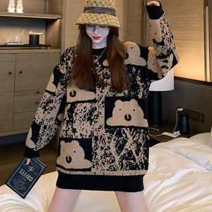 【トップス】ファッション長袖ラウンドネックプルオーバーセーター