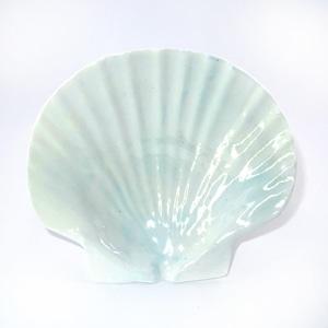 ホタテ貝皿(青味白色)T-10