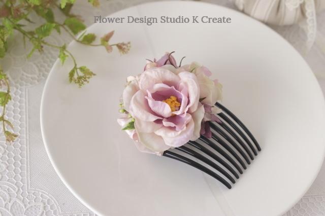 ピンクの薔薇とコスモスのコーム フラメンコ ペイネタ お花のコーム バラ 髪飾り ダンス髪飾り