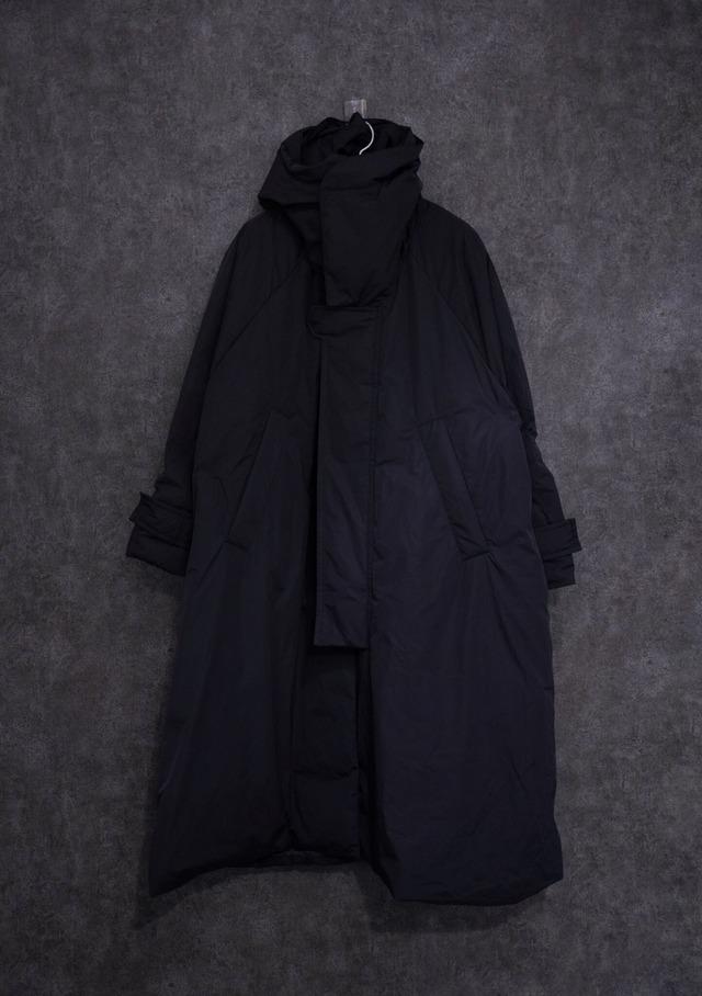 VOAAOV Nylon High Density Cloth Long Coat Black
