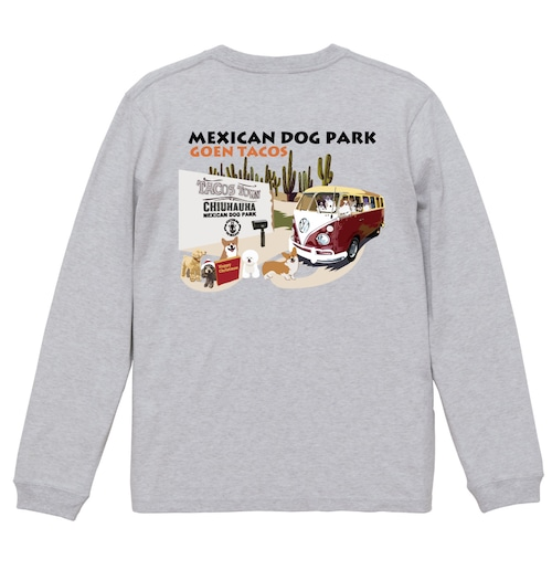 No.2020-welshcorgi-longts2-010  :  :5.6オンス ロングスリーブ Tシャツ(1.6インチリブ)   メキシカンドッグパークのコーギーのタコス屋さん
