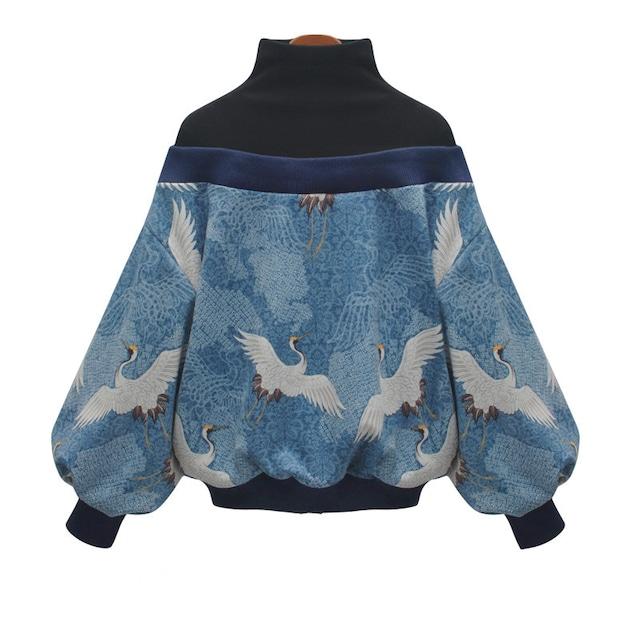 ✿人気商品再入荷✿ トップス プリント 鶴模様 レディースファション 長袖 重ね着風 S M L ハイネック 配色