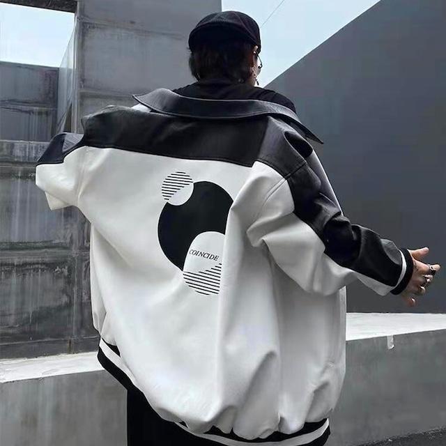 【アウター】PUファッション男女兼用シンプル切り替えジャケット53375744