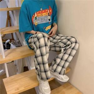 【ボトムス】シェック柄ファッション通勤カジュアルシンプルパンツ28787064