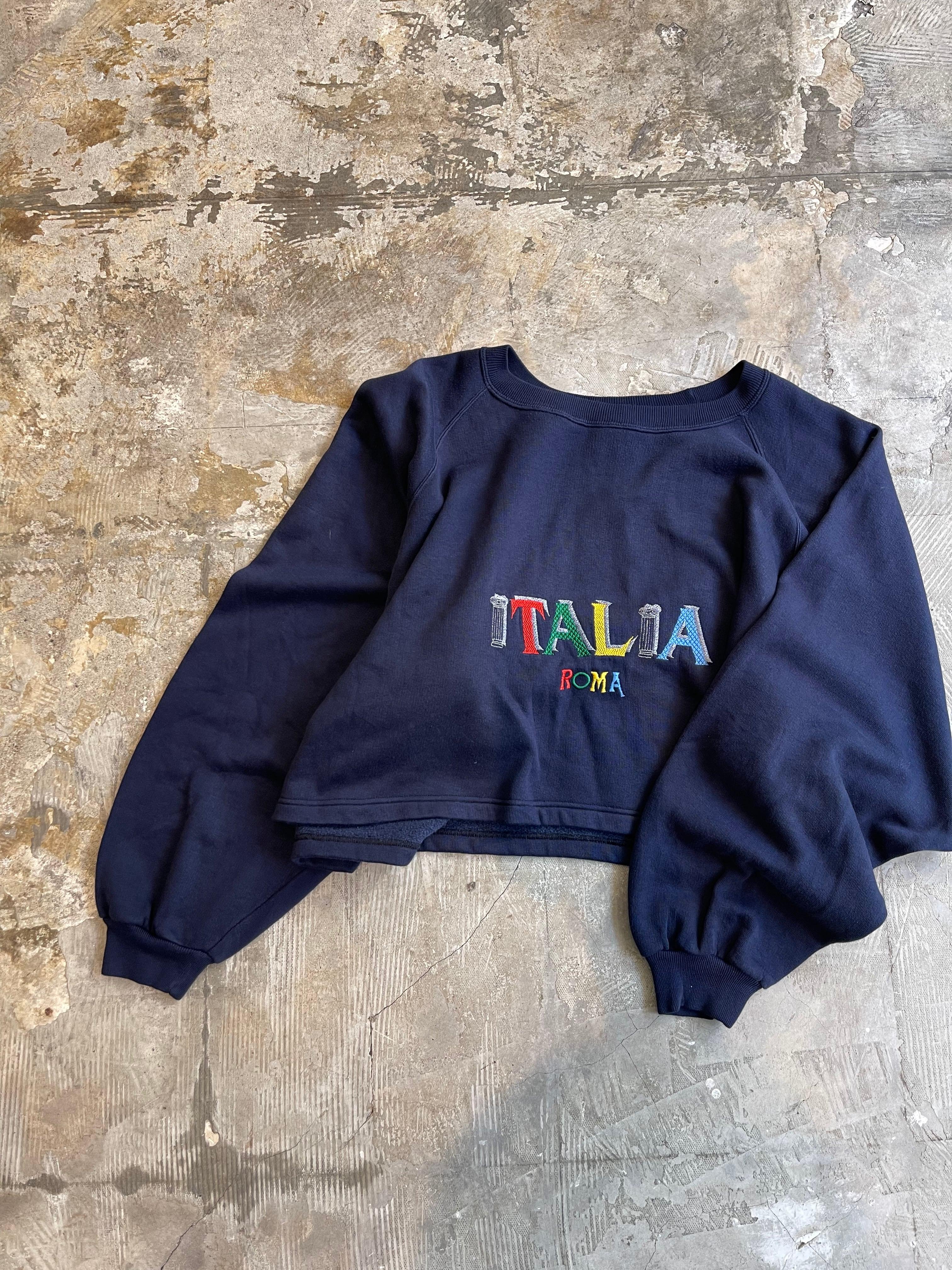 """remake """"ITALIA"""" vintage embroidery sweat"""