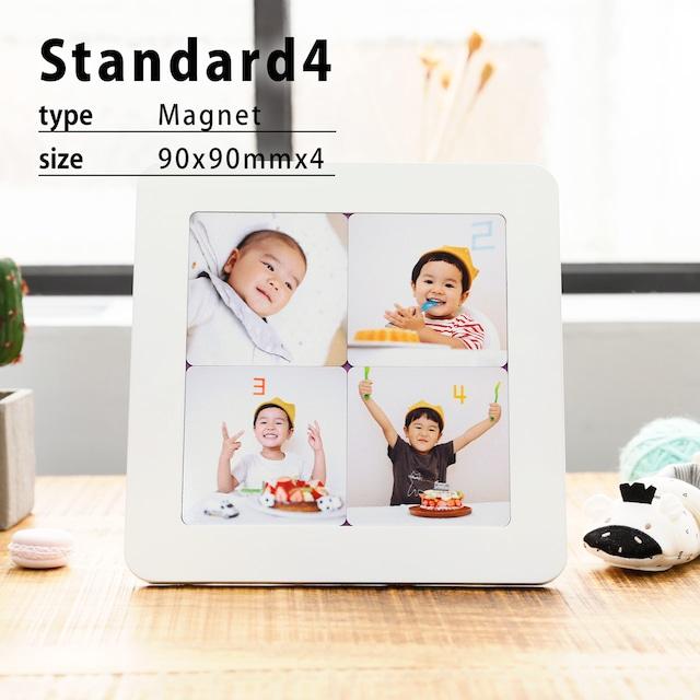 マグネットフォトスタンドStandard4(ホワイトフォトフレーム/90x90mmマグネット4枚セット)/Instagram印刷などに最適/オンラインプリント/写真印刷