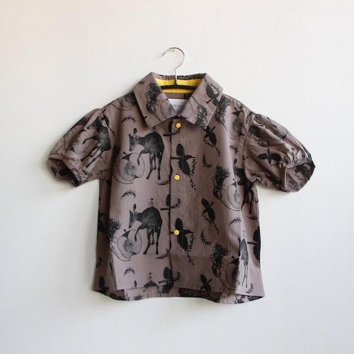 《michirico 2021SS》Flora and fauna shirt / charcoal / S・M