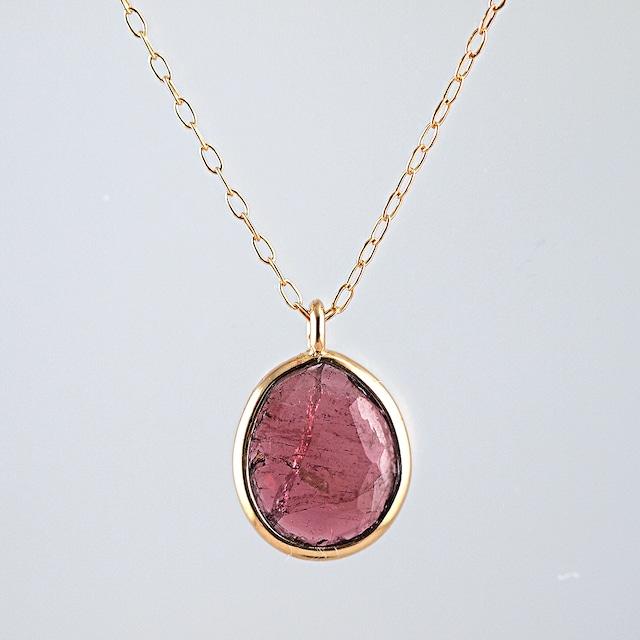 Pink tourmaline oval cut necklace