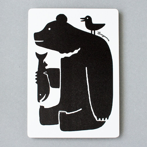 【大判】活版ポストカード 鮭と熊