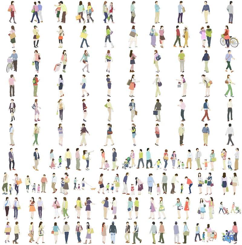 人物イラストSketchUp素材 4up_color01_100 - 画像4