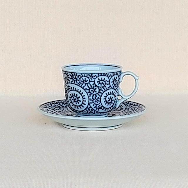 伐太郎窯 染付 蛸唐草 コーヒー碗皿
