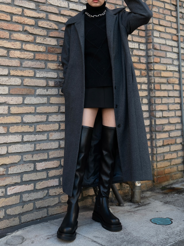 【WOMENS - 1 size】STAND FALL COLLAR COAT / 2colors