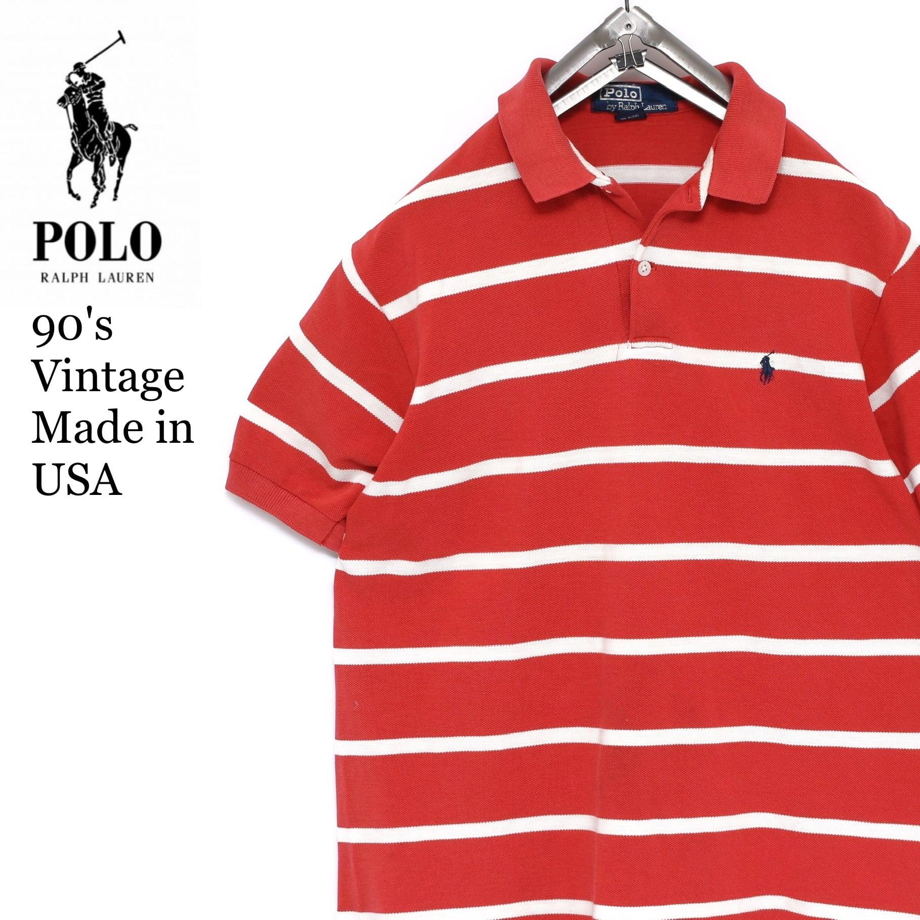 【USA製】【状態良好】80s-90s ラルフローレン ボーダー ポロシャツ ビンテージ
