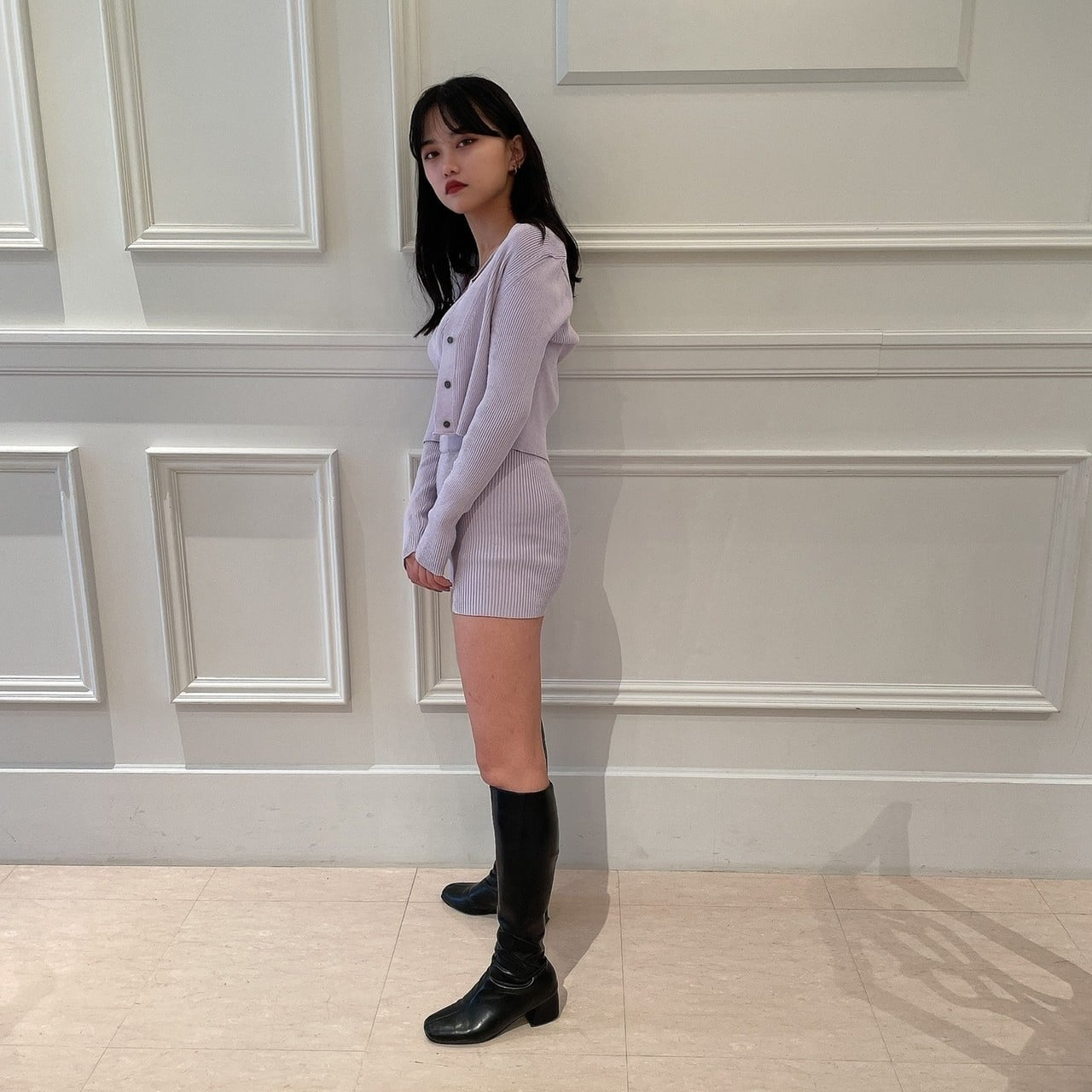 【Belle】knit three piece / purple