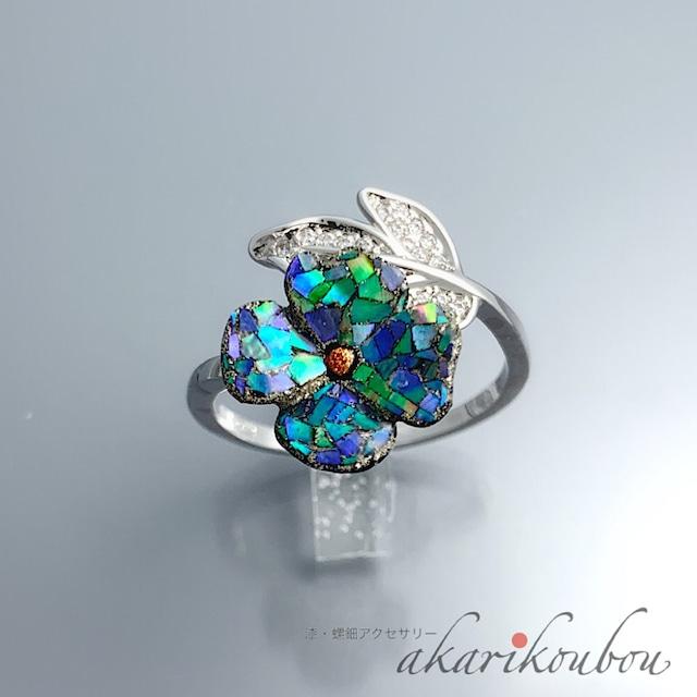 【sv925】漆指輪 ブルー 螺鈿 花 フリーサイズリング  漆アクセサリー : Silver925 ロジウム キュービックジルコニア フォークリング レディース 綺麗 螺鈿ジュエリー