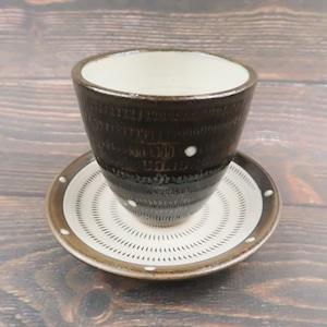 小石原焼 マグカップアンドソーサー トビカンナ 飴色白いドットがポイント 上鶴窯