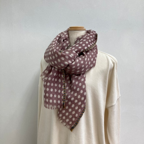 エピス ウールストール 大判 ドット柄 手織り ブロックプリント デンマーク ピンク