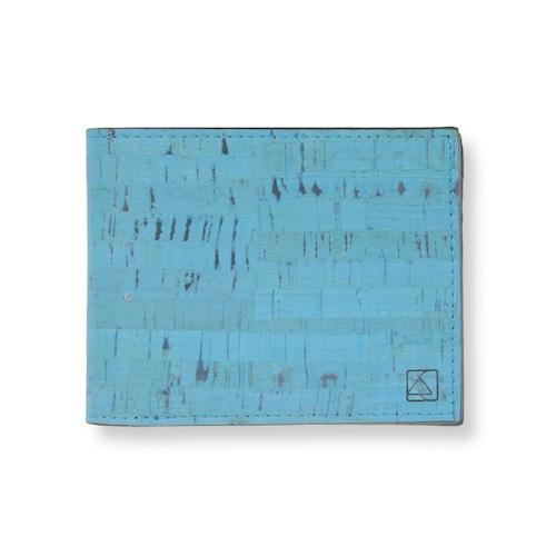 VEGAN  COIN WALLET  TEAL/ 二つ折り財布 ティール&ブラック コルク製 小銭入れ付き