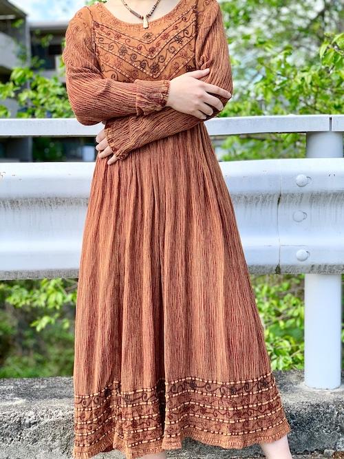 Vintage Brown Embroidered  Dress