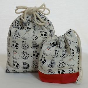 巾着袋/いろいろな猫イラストの巾着2点セット (5-196)