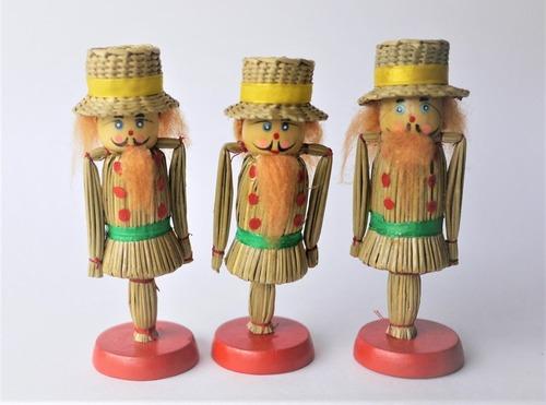 麦わら細工 兵士人形3個 ストローオーナメント ドイツ