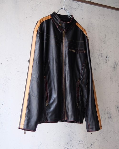 two line fake leather jacket