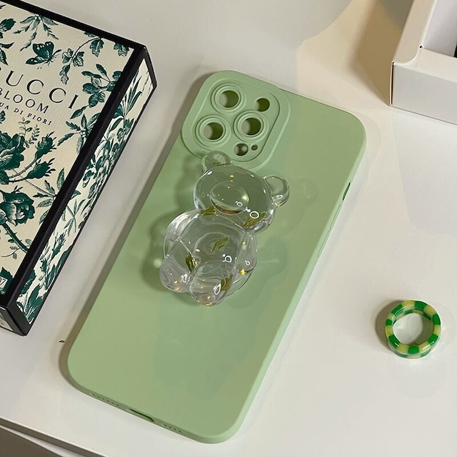 Crystal leaf bear iphone case