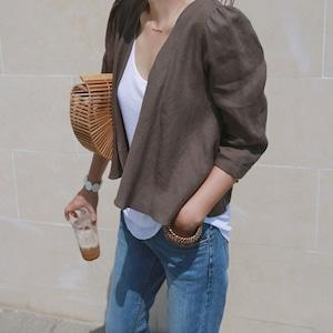 t0055011 トップスシャツ 羽織り リネン 綿麻 七分袖 夏用 アウター ブルー カーキ  S-XL カジュアル