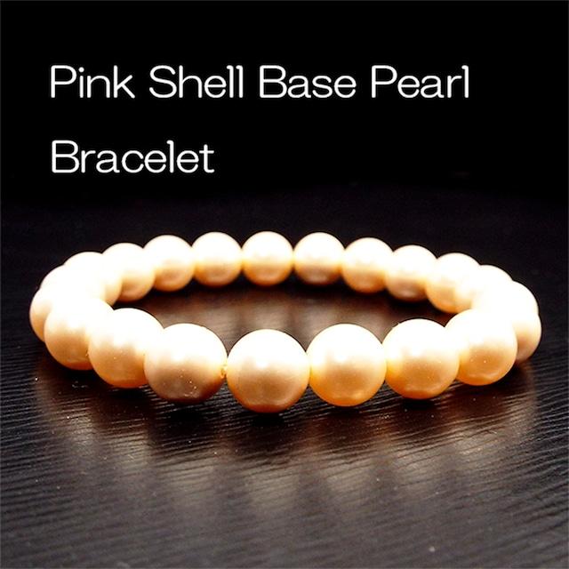 【美しさの象徴・守護の石】天然石 ピンクシェルパール ブレスレット(8mm)
