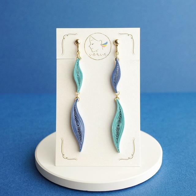 片耳約0.5g♪ウェーブラインイヤリング・ピアス [ ブルー ]: 軽い・痛くなりにくい紙のイヤリングとピアス, ペーパージュエリー