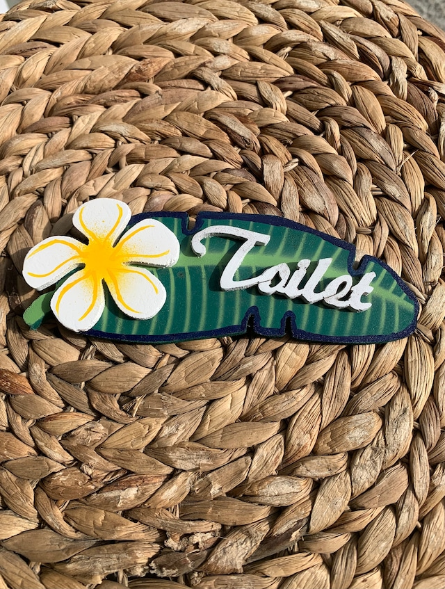 ハワイアンプルメリアドアプレート トイレ ハワイアンインテリアに♪ 白
