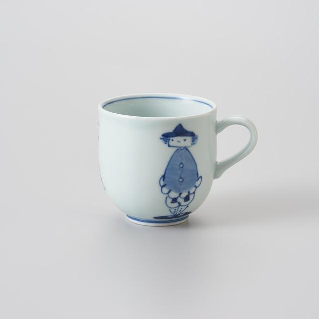 """【青花】""""三人異人"""" ミニマグカップ"""