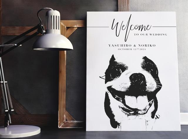 ペットのお写真で似顔絵 白黒ウェルカムボード│犬 猫