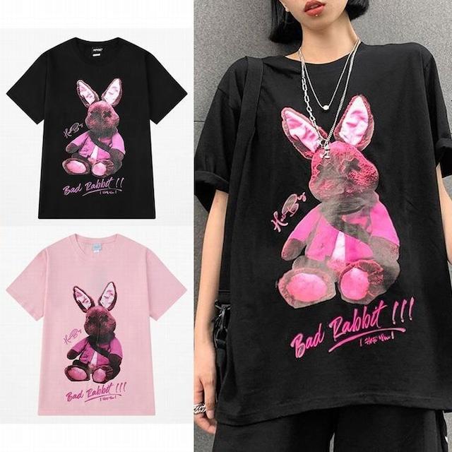 ユニセックス Tシャツ 半袖 ラウンドネック バッドラビット うさぎ プリント オーバーサイズ 韓国ファッション メンズ レディース 大きいサイズ ルーズ ストリートファッション TBN-621638638683
