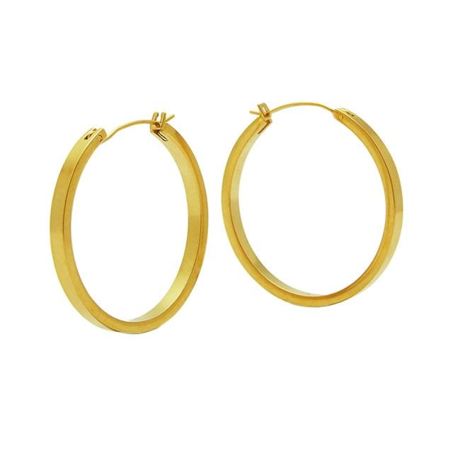 Matte gold hoop pierce ピアス