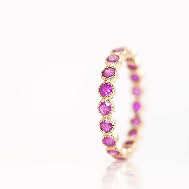 Ruby full eternity ring / milgrain