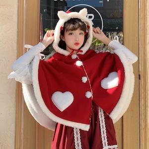 ポンチョ マント レディース ロリータ服 ロリィタ 冬 コート ファー ふわふわ もこもこ 可愛い Lolita ジャケット 9667