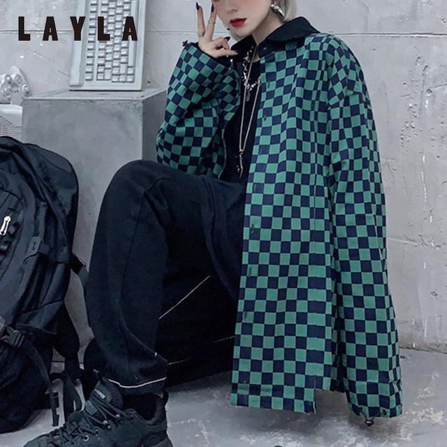 市松柄ルーズチェックシャツジャケット (L20115-253)