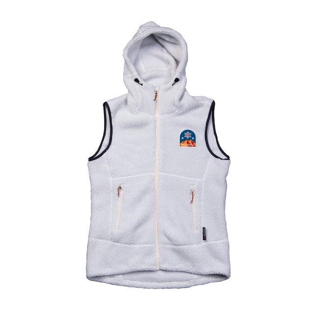 New!! UN3510 Boa fleece hoody vest / Whitegrey